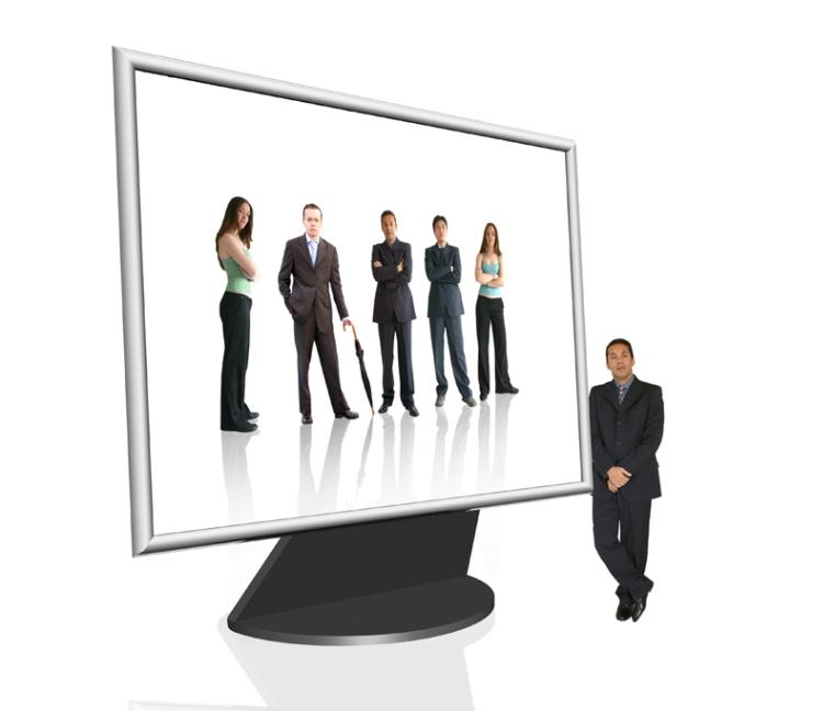 Business computer screen - online team